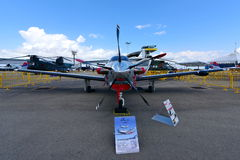 Daher-Socata TBM 900 single turboprop passenger plane on display at Singapore Airshow Stock Photos