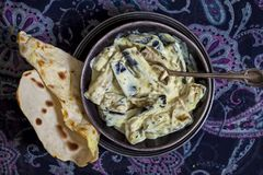 Dahi Baingan, aubergine and curd curry. Typical Indian dish Stock Images