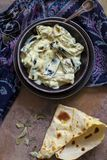 Dahi Baingan, aubergine and curd curry. Typical Indian vegetarian dish Royalty Free Stock Photos