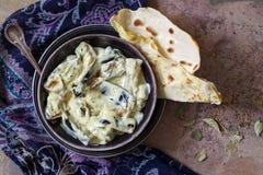 Dahi Baingan, aubergine and curd curry. Indian dish Stock Photos
