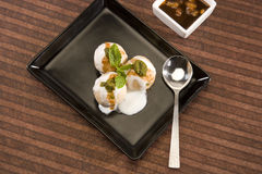 Dahi Bhalle Chaat or Stuffed Panipuri with Curd Royalty Free Stock Photo