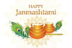 Dahi handi op Janmashtami, het vieren geboorte van Krishna Stock Foto