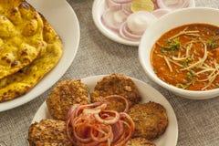 Dahi ka kebab with missi roti and adarki paneer Stock Images