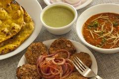 Dahi ka kebab with missi roti and adarki paneer Stock Image