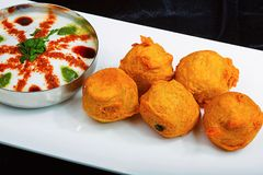 Dahi Vada, Pune, India. Dish with Dahi Vada, Pune India royalty free stock photos