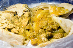 Dahl pouri chicken roti trinidad food Stock Photos