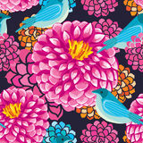 Dahlia bird seamless pattern Stock Photos