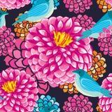 Dahlia bird seamless pattern. Illustration dahlia flower bird seamless pattern silhouette draw dahlia flowers background Stock Photos