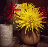 Dahlia bouquet with interesting candle quote: laugh a little. Every day royalty free stock photography