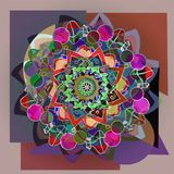 Dahlia flower mandala in pastel colors pallet, geometric background in brown and gray stock illustration