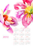 Dahlia flowers. Calendar for 2013 Stock Photography