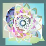 DAHLIA MANDALA FLOWER IN PASTEL COLORS PALLET. GEOMETRIC BACKGROUND royalty free illustration