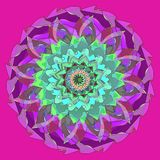 DAHLIA MANDALA FLOWER. PLAIN FUCHSIA BACKGROUND. CENTRAL FLOWER IN PURPLE, VIOLET, GREEN, TURQUOISE, AQUAMARINE, BURGUNDY royalty free illustration