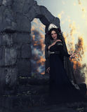 The Dahlia Queen among ruins Royalty Free Stock Images