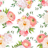 Dahlia, ranunculus, rose and peony seamless vector pattern Royalty Free Stock Image
