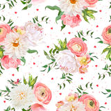 Dahlia, ranunculus, rose and peony seamless vector pattern. Royalty Free Stock Image
