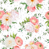 Dahlia, ranunculus, rose and peony seamless vector pattern. Royalty Free Stock Photography