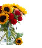 Dahlia and sunflowers Stock Image