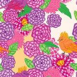 Dahlia watercolor vertical bird seamless pattern Royalty Free Stock Photos