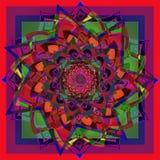 Dahliablommamandala i ljus färg, röd, blå, purpurfärgad, grön geometrisk bakgrund royaltyfri illustrationer