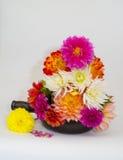 Dahlias. A vase full of multi coloured dahlias in full bloom Stock Image