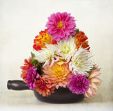 Dahlias. A vase full of multi coloured dahlias in full bloom Stock Photography