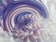 Dahliavit-blått genomskinlig blomma på bakgrunden av regnbågespiralen alla några objekt för den blom- illustrationen för sammansä Arkivbild