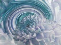 Dahliavit-turkos blomma på bakgrunden av regnbågespiralen alla några objekt för den blom- illustrationen för sammansättningseleme Arkivfoton