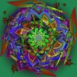 Dahlienblumenmandala im Weinlesebild, abstrakter Hintergrund im Grün und Burgunder, zentrale Blume in Blauem, braun, grün, purpur vektor abbildung