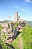 Dahn castle ruins. Beautiful view from Tanstein castle ruin over the to the Grafendahn and Altdahn castle ruins. The castle ruins are all located on a hill above Royalty Free Stock Photos