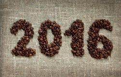 2016 dai chicchi di caffè Immagini Stock Libere da Diritti