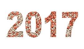 2017 dai fertilizzanti minerali, isolati su bianco Immagine Stock