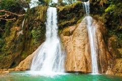 Dai Yem vattenfall Denna är en trevlig vattenfall i Moc Chau, Vietnam Fotografering för Bildbyråer