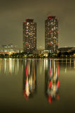 Daiba Towers Night Reflection. A reflection of high rise towers on Tokyo Bay, Japan Stock Image