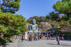 Daibutsu - Grote Boedha van Kotokuin-Tempel binnen Royalty-vrije Stock Foto's