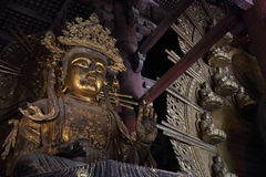 Daibutsu with Kokuzo Bosatsu in the great Buddha hall at Todaiji. Temple in nara Royalty Free Stock Photography