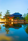 Daibutsuden Night Long Exposure Lake Reflection Stock Image