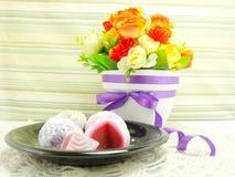 Daifuku mochi japanese sweets isolated Stock Photo