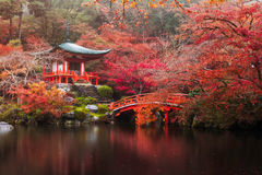 Daigo-ji temple in autumn stock photography
