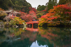 Daigo-ji temple with colorful maple trees Stock Photography