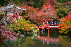 Daigo-ji temple with colorful maple trees Stock Photos