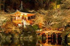 Daigoji寺庙京都日本夜 免版税库存图片