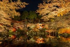 Daigoji寺庙京都日本夜 免版税图库摄影