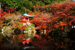Daigoji at autumn, Kyoto. Daigoji or Daigo-ji Temple with autumn foliage colors and skyline reflection in Kyoto, Japan Stock Images