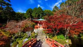 Daigoji Temple in Autumn color. Daigoji Temple with across bridge with Autumn foliage, Kyoto, Japan Stock Photos