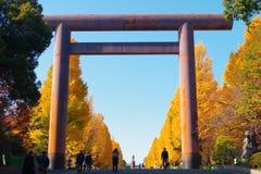 Daiichi Torii, η πρώτη πύλη του ναού Γιασουκούνι Στοκ εικόνα με δικαίωμα ελεύθερης χρήσης