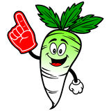 Daikon with Foam Finger Stock Images