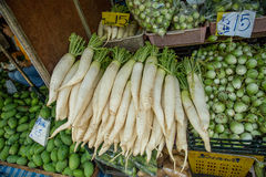 Daikon on the market Royalty Free Stock Image
