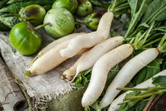 Daikon radish and eggplant at asian market Royalty Free Stock Images