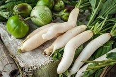 Daikon radish and eggplant at asian market Royalty Free Stock Images